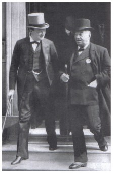 Winston Churchill, First Lord of the Admiralty and Lord Fisher, after a meeting of the Committee of Imperial Defence, 1913.