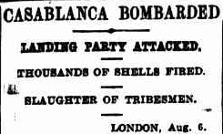 The French bombardment of Casablanca as reported in the Sydney Morning Herald.